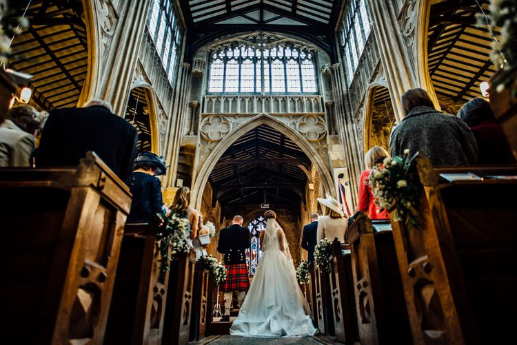 Wedding Ceremony | Bride in Pronovias Tami Wedding Dress | Groom in Blue Moss Bros Suit | Michelle Wood Photography