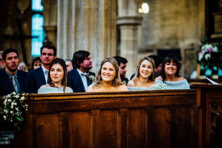 Church Ceremony | Bridesmaids in Grey ASOS High Low Bardot Dresses | Michelle Wood Photography