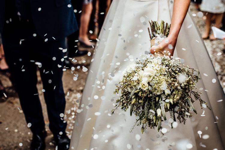 White & Greenery Bridal Bouquet | Confetti Exit | Bride in Pronovias Tami Wedding Dress | Michelle Wood Photography