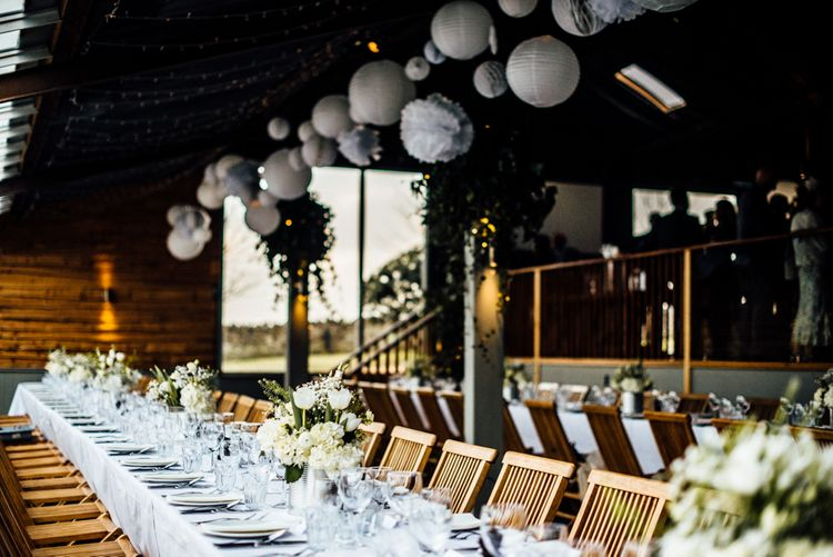 Hanging Paper Lanterns & Fairy Lights | Wedding Decor | Industrial Wedding at Cripps Stone Barn with White & Greenery Flowers | Michelle Wood Photography