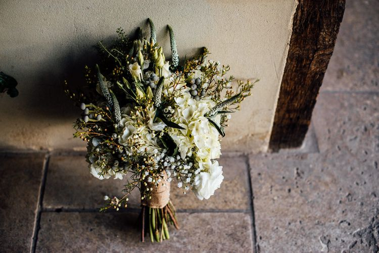 White & Greenery Wedding Bouquet | Michelle Wood Photography