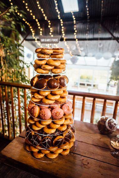 Krispy Kreme Doughnut Tower Wedding Cake | Michelle Wood Photography
