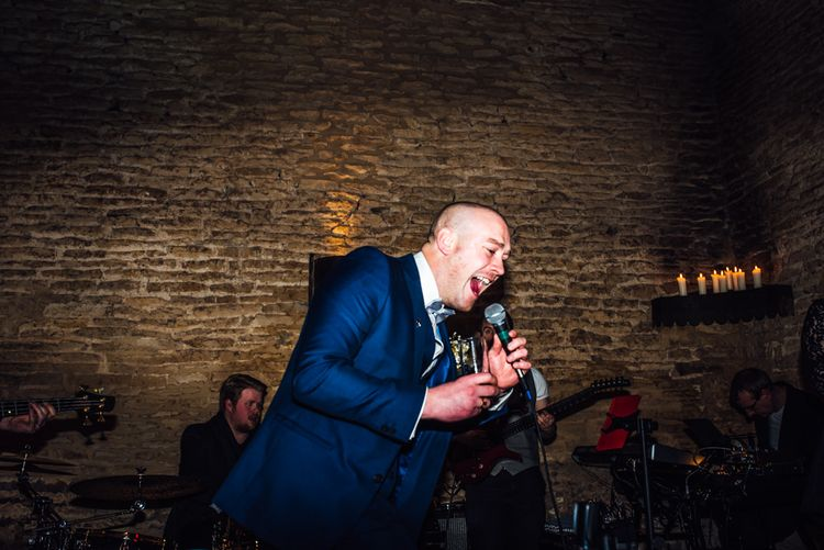 Karaoke Band | Groom in Blue Moss Bros Suit | Michelle Wood Photography