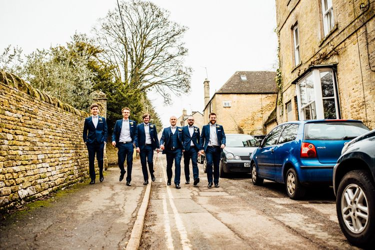 Groomsmen in Blue Moss Bros Suit | Michelle Wood Photography