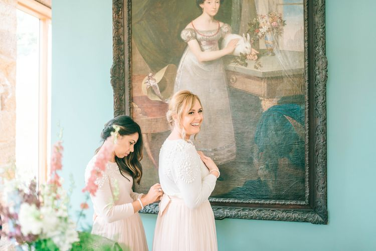 Bridesmaids In Pink Jumpers With Tulle Skirts