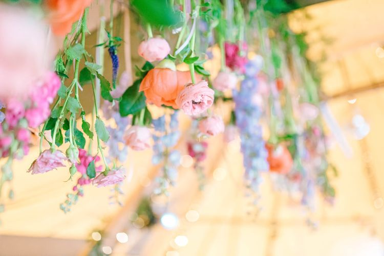 Hanging Florals For A Tipi Wedding At Brinkburn Priory