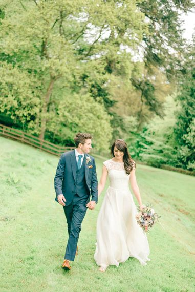 Alan Hannah Bride For A Pastel Wedding At Brinkburn Priory Northumberland With Bridesmaids In Jumpers & Tulle Skirts & Images By Matt Ethan Photography