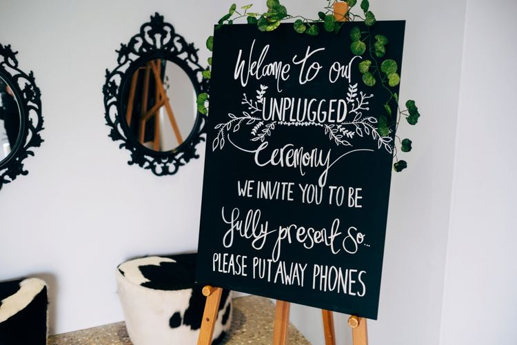 Chalkboard Unplugged Wedding Ceremony Sign | Dale Weeks Photography