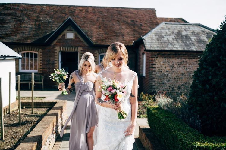 Bride in Lace Illusion Neck Wedding Dress | Dale Weeks Photography