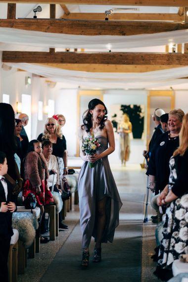 Bridesmaid in Grey ASOS DressGroom at the Altar | Dale Weeks Photography
