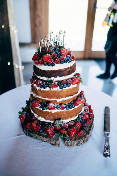 Naked Victoria Sponge Wedding Cake | Dale Weeks Photography