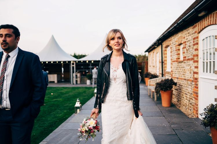 Bride in Lace Illusion Neck Wedding Dress & Leather Jacket | Dale Weeks Photography