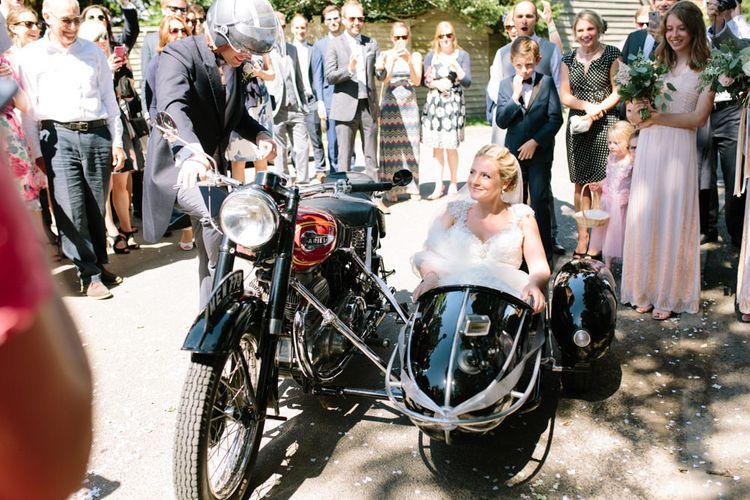 Bride & Groom on Bike & Side Car