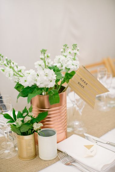 Spray Painted Copper Tin Cans & White Flowers