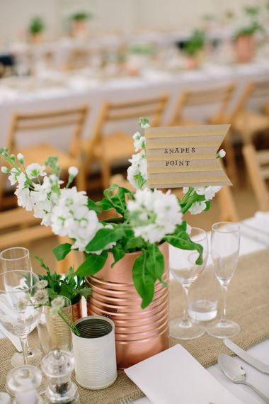 SSpray Painted Copper Tin Cans & White Flowers