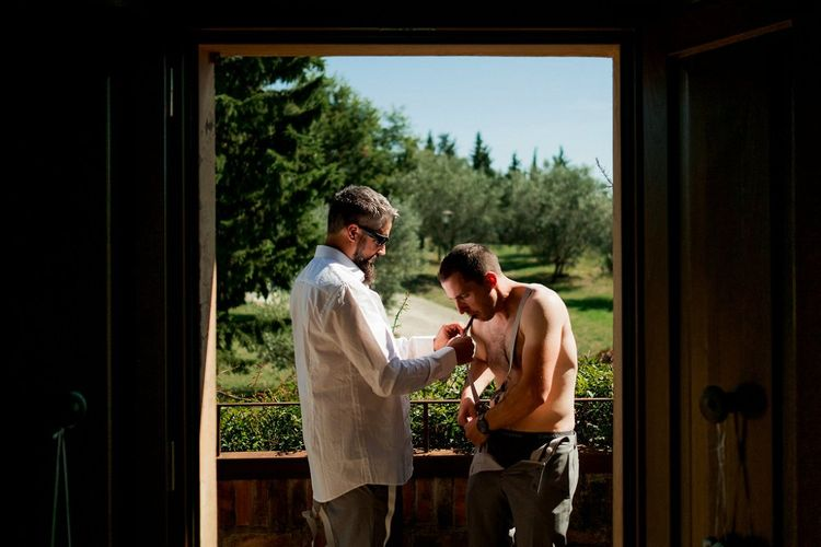 Wedding Morning Grooms Preparations | Destination Wedding at Pienza, Italy | Nordica Photography