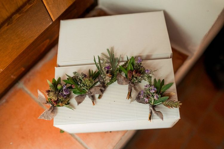 Green & Purple Buttonholes | Destination Wedding at Pienza, Italy | Nordica Photography