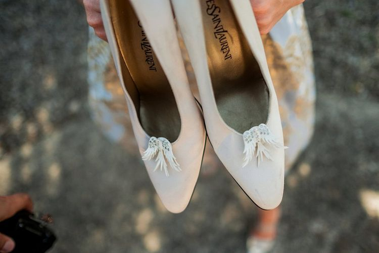 Vintage Yves Saint Laurent Bridal Shoes with Angel Wings | Destination Wedding at Pienza, Italy | Nordica Photography