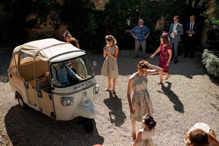 Tuc Tuc Wedding Transport | Bridesmaids in Eliza J Brocade Dresses | Destination Wedding at Pienza, Italy | Nordica Photography