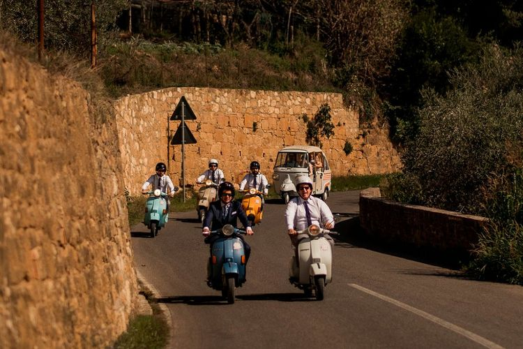 Groomsmen on a Fleet of Vespa's | Destination Wedding at Pienza, Italy | Nordica Photography