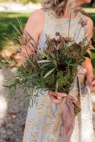 Olive Leaves & Wild Flower Bouquet | | Destination Wedding at Pienza, Italy | Nordica Photography