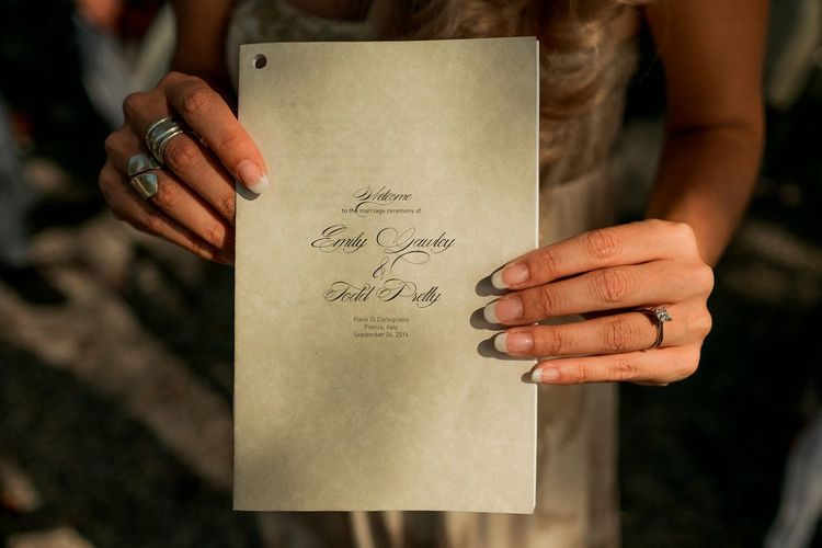 Order of Service Wedding Stationery | Destination Wedding at Pienza, Italy | Nordica Photography