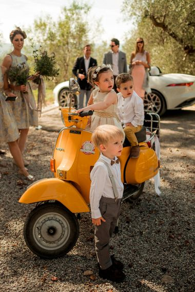 Childen on a Vespa | Destination Wedding at Pienza, Italy | Nordica Photography