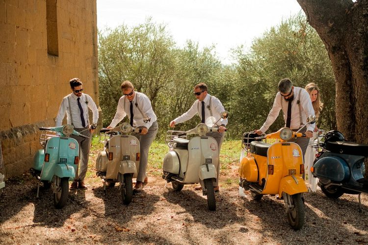 Groomsmen in Ties & Braces on Vespa's | Destination Wedding at Pienza, Italy | Nordica Photography