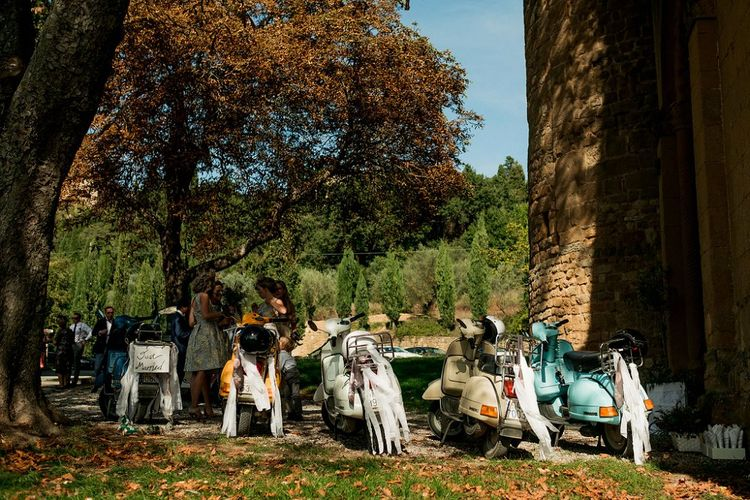 Fleet of Vespa's | Destination Wedding at Pienza, Italy | Nordica Photography