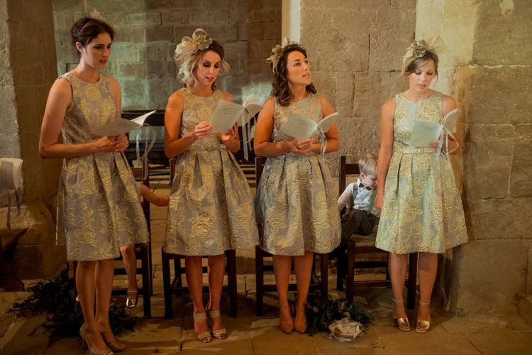 Wedding Ceremony | Bridesmaids in Eliza J Brocade Dresses | Destination Wedding at Pienza, Italy | Nordica Photography