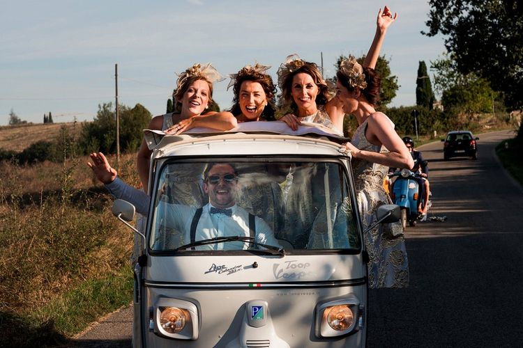Bridesmaids in Tuc Tuc Wedding Transport | Destination Wedding at Pienza, Italy | Nordica Photography