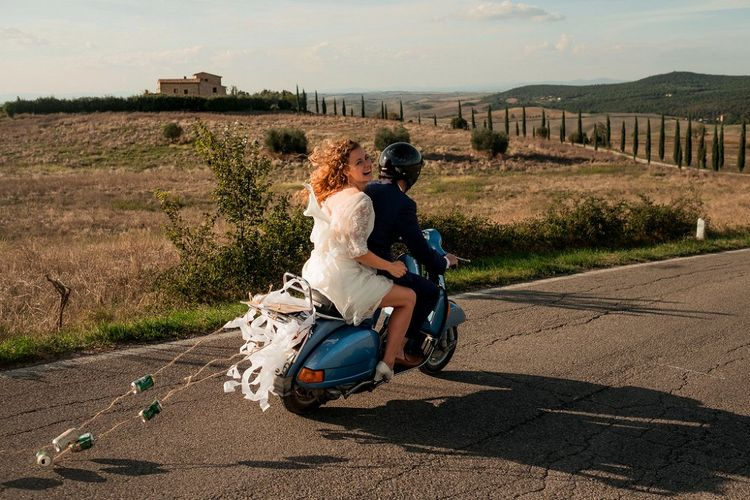 Vespa Wedding Transport | Bride in Low Back Atelier Endeavour Gown | Groom in Hugo Boss Suit | Destination Wedding at Pienza, Italy | Nordica Photography