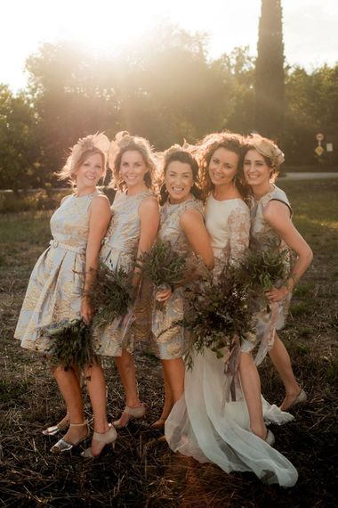 Bridesmaids in Eliza J Brocade Dresses | Bride in Low Back Atelier Endeavour Gown | Destination Wedding at Pienza, Italy | Nordica Photography