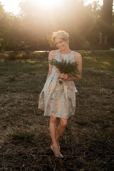 Bridesmaid in Eliza J Brocade Dress | Destination Wedding at Pienza, Italy | Nordica Photography