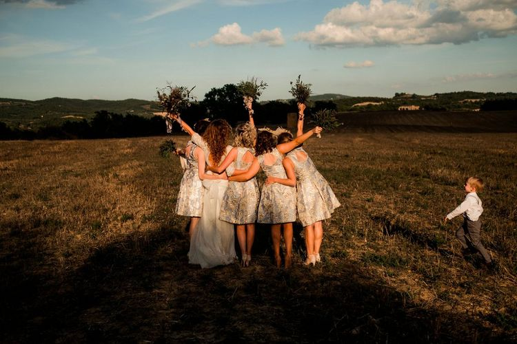 Bridesmaids in Eliza J Brocade Dresses | Destination Wedding at Pienza, Italy | Nordica Photography