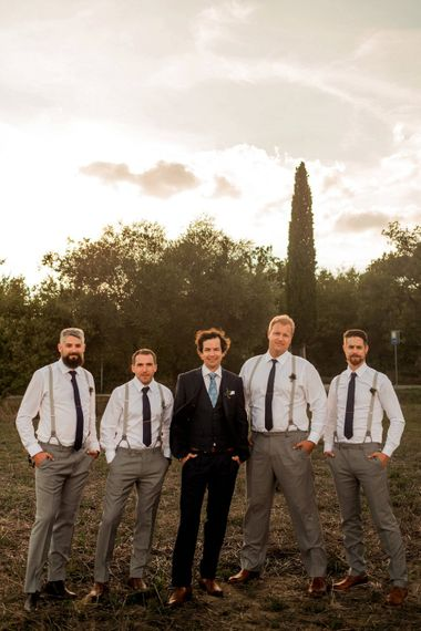 Groom in Hugo Boss Suit | Groomsmen in Banana Republic | Destination Wedding at Pienza, Italy | Nordica Photography