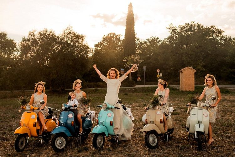 Bridal Party on a Fleet of Vepsa's | Destination Wedding at Pienza, Italy | Nordica Photography