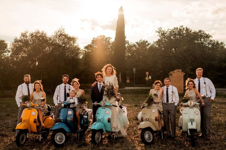 Wedding Party on a Fleet of Vepsa's | Destination Wedding at Pienza, Italy | Nordica Photography