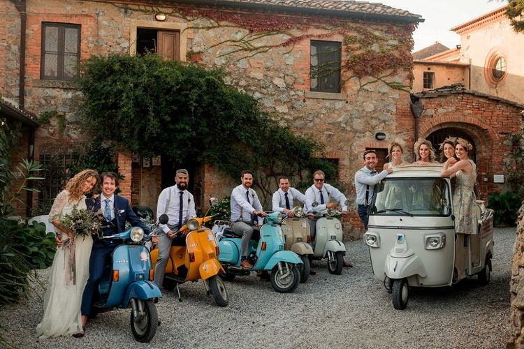 Wedding Party on a Fleet of Vepsa's & Tuc Tuc | Destination Wedding at Pienza, Italy | Nordica Photography