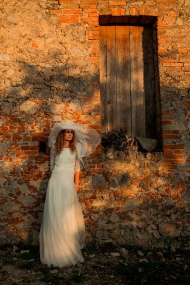 Bride in Low Back Atelier Endeavour Gown | Destination Wedding at Pienza, Italy | Nordica Photography