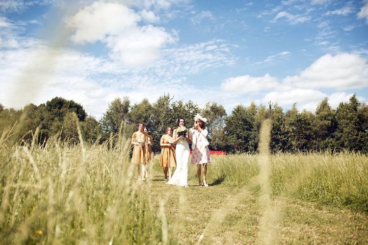 Bridal Party Outdoor Wedding Ceremony Entrance | Vintage Weddings Photography
