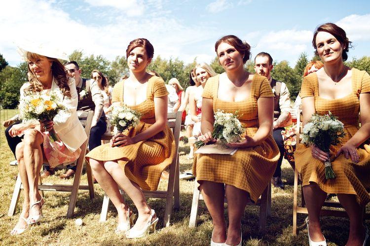 Bridesmaids in Mustard Yellow ASOS Dresses | Outdoor Wedding Ceremony | Vintage Weddings Photography