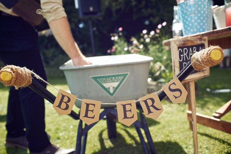 Beer Wheel Barrow | Outdoor Wedding Ceremony at Wood Farm | Vintage Weddings Photography