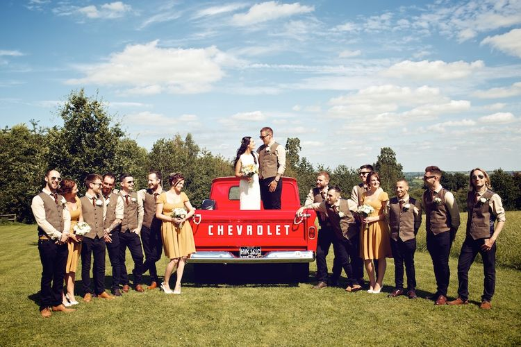 Bridal Party | Groomsmen in Tweed & Bridesmaids in Mustard Yellow ASOS Dresses | Vintage Weddings Photography