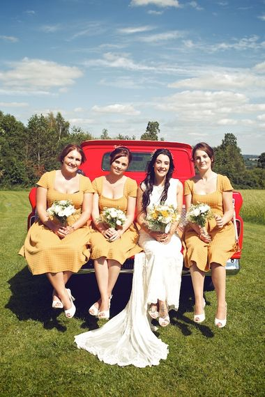Bride & Bridesmaids in Mustard Yellow ASOS DressesOutdoor Wedding Ceremony at Wood Farm | Vintage Weddings Photography