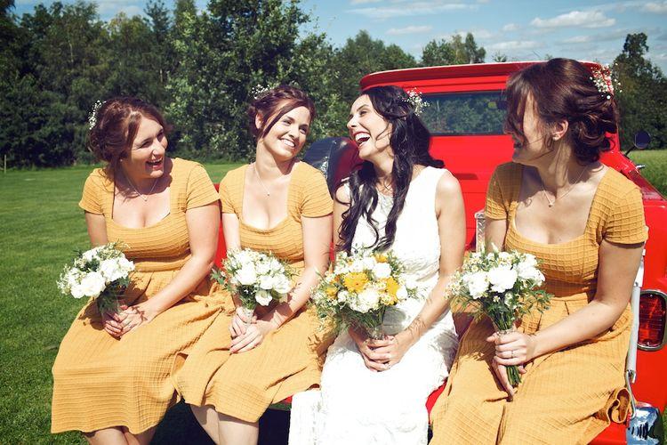 Bride & Bridesmaids in Mustard Yellow ASOS Dresses | Vintage Weddings Photography