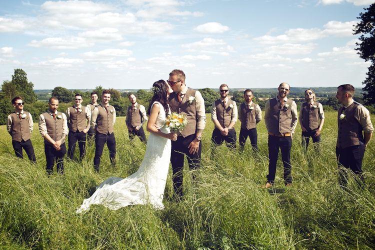Bridal Party | Groomsmen in Tweed | Bridesmaids in Mustard Yellow ASOS DressesOutdoor Wedding Ceremony at Wood Farm | Vintage Weddings Photography