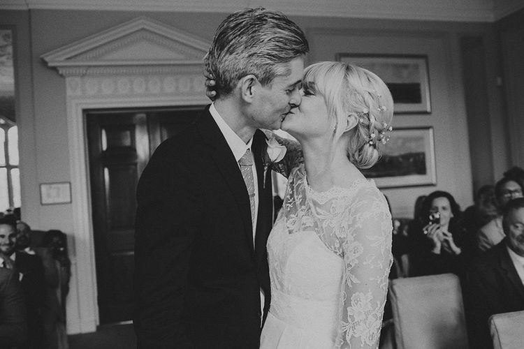Wedding Ceremony at Ruston Hall Northamptonshire | Stylish Bride in Separates by Noble and Wright | Groom in Folk Suit | Marshal Gray Photography