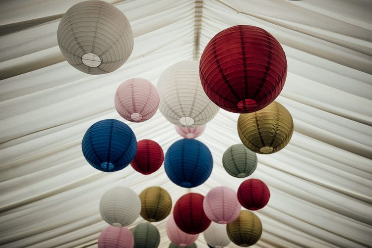 Coloured Lanterns For Marquee Wedding