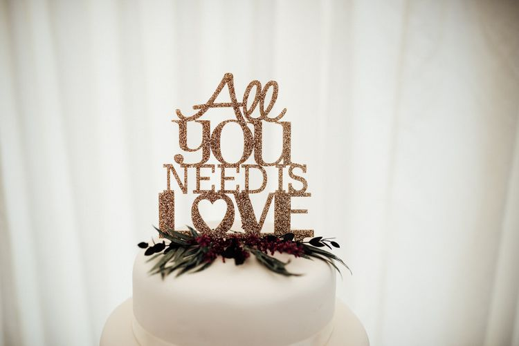 Gold Glitter All You Need Is Love Cake Topper